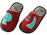 Amnllden Zapatillas de estar por casa suaves y cálidas para niños, de piel sintética, con suela antideslizante, unisex, color Rojo, talla 32/33 EU