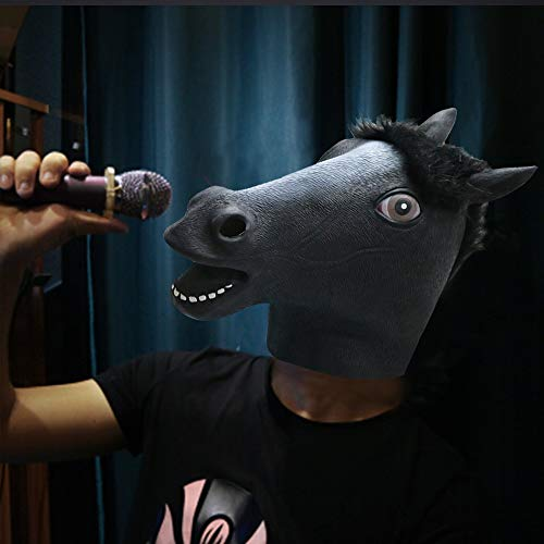 Horse Head Mask,Halloween Scary Mask,Funny Animal Mask for Kids/Adults Christmas, Easter, Carnival,Masquerade Horse Head Costumes(black)