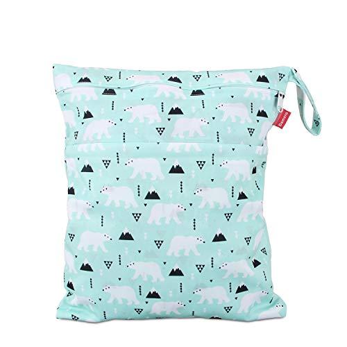 Damero wetbag nasstasche wiederverwendbar, windeltasche wetbag, Wetbag windelbeutel für Babys Windeln, schmutzige Kleidung und anderes Zubehör, (Mittel, Bär)