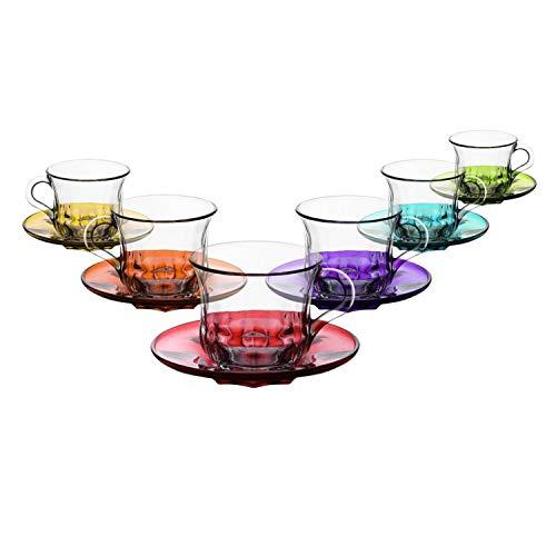Lav 12tlg Teegläser Set farbige Untertassen Teeset Gläser mit Henkel für Tee Kaffee Cappucino - 215ml