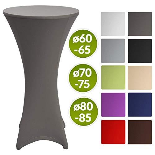 Beautissu Stretch Stehtisch Husse Stella für Bistrotisch Ø 70-75 cm Elegante Stretch-Husse Anthrazit als Tisch-Überzug in div. Farben & Größen