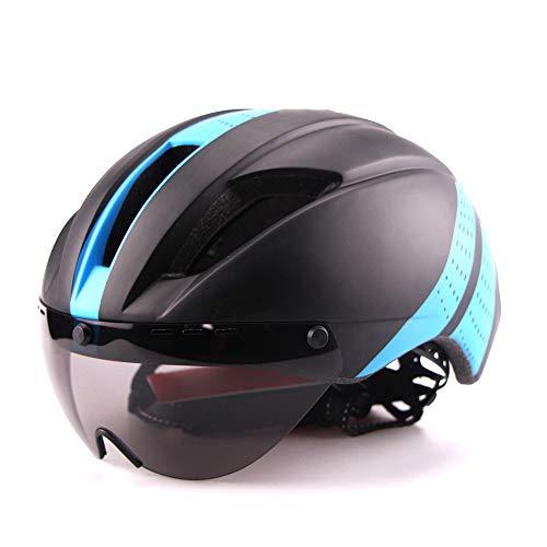 Leichter Unisex-Fahrradhelm mit abnehmbarem Magnetic Goggles Aerodynamischer Helm für Motorrad-Fahrrad-Reiten Black and Blue L (58-62CM)