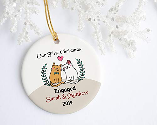 None-brands Christmas Ornament 2020 Our first christmas engaged, Personalized Engagement Ornament, marriage proposal gift for couple, custom cats christmas tree decoration Xmas Tree Ornament