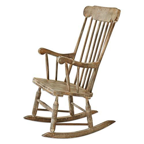 Loberon schommelstoel Adaleine, grenenhout, H/B/D 106/74 / 62 cm, antiek bruin