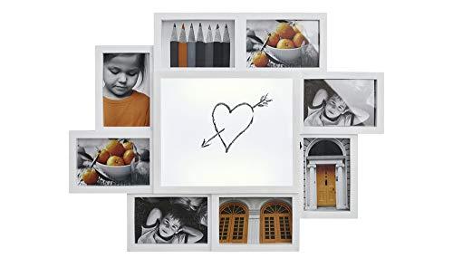 KHG Bilderrahmen Collage Weiß 10x15 8er-LED-Bilderrahmen Draw Love Notiztafel