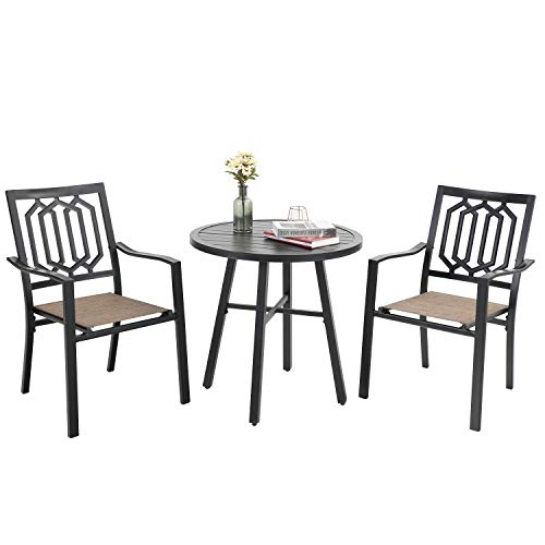 PHI VILLA 3 Pieces Patio Bistro Set Furniture Dining Sets with 2 Outdoor Dining Sling Mesh Chairs and 1 x Round Table for Yard and Bistro (Black)