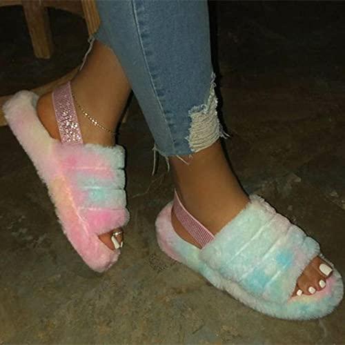 BDBD Pantuflas de baño,Pendiente de Engrosamiento de Gran tamaño con Zapatillas de Piel, Sandalias de algodón cálidas para Mujer-Purple_42-43,Sandalias Deslizantes Unisex