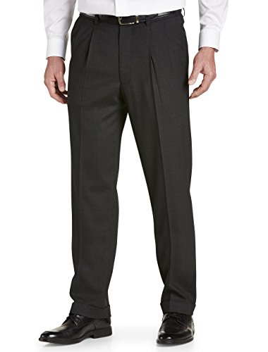 Gold Series by DXL Big and Tall Waist-Relaxer Hemmed Pleated Suit Pants Charcoal