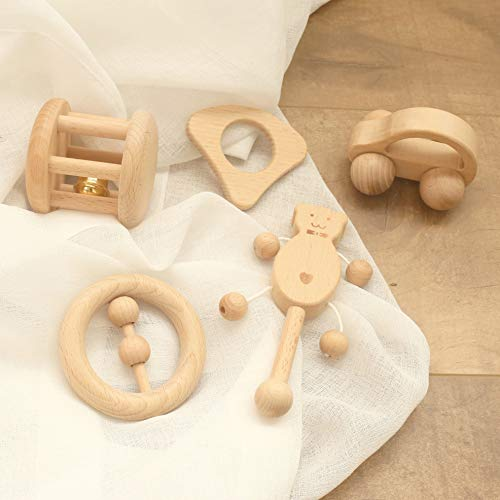 Mamimami Home 5PC Baby Toy Beech Wooden Teether Organic Rattle Montessori Play Gym Baby Crib Toy Sensory Activity Teething Toys Shower Gift