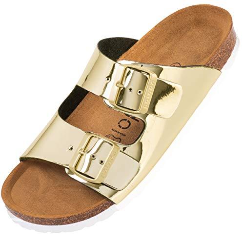 Palado® Damen Sandale Korfu | Made in EU | Pantoletten in modischen Farben | 2-Riemen Sandaletten mit Natur Kork-Fussbett | Herren Hausschuhe mit Leder-Laufsohle Lack Glatt Gold 39 EU