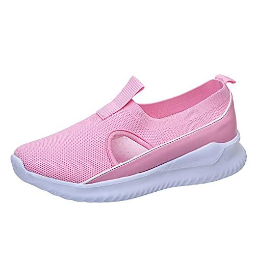 Mujer Zapatillas Casual Zapatos Deportivas Cómodos Fitness Atlético Paseo Correr Calzado Transpirable Ligero Deporte Sneakers (M12_Pink,41)