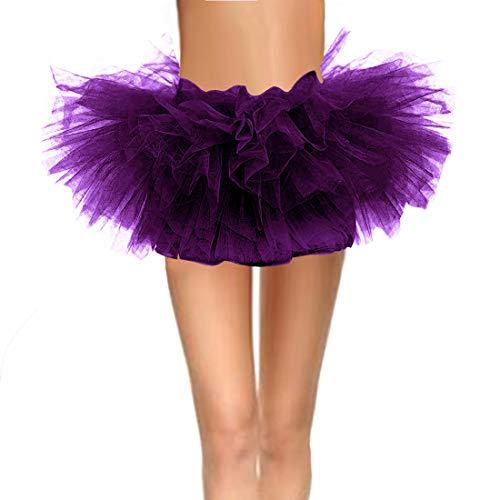 CahcyElilk Women's Mini Short Puffy Adult Runing Halloween Tutu Purple Large