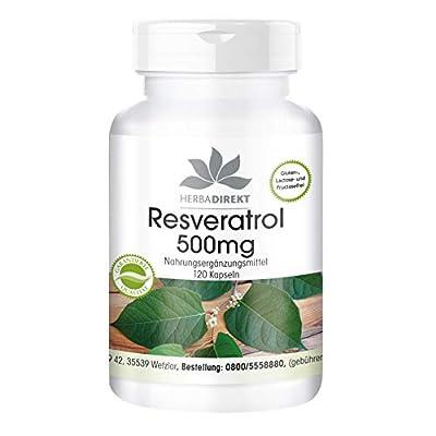 Herbadirekt Resveratrol 500mg - high-dose - Vegan - 120 Capsules