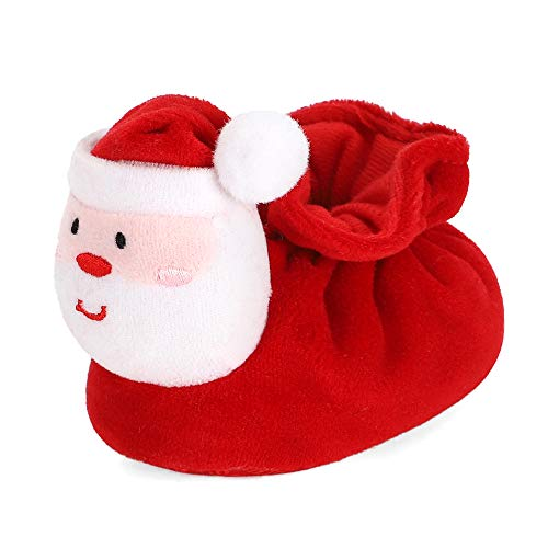 Newborn Baby Boys' Girls' Santa Claus Bootie Christmas Slippers Warm Plush Soft Soles Infant Crib Shoes, 6-12 Months Red