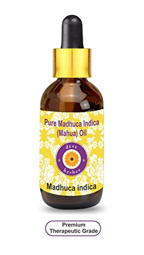 Deve Herbes Pure Madhuca Indica Oil 50ml (Madhuca Indica) with Glass Dropper 100% Natural Therapeutic Grade (1.69oz)