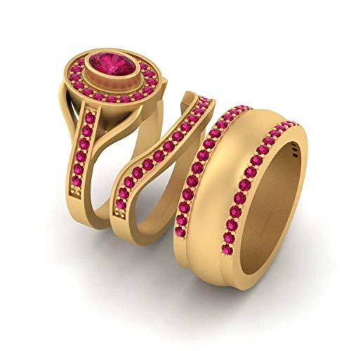 Anillo de boda con halo de rubí rosa para pareja de oro amarillo Fn 925