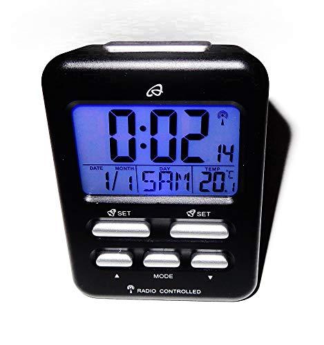 Auriol Funk LED Tischuhr Funkwecker Wecker Temperaturanzeige LCD Digital schwarz