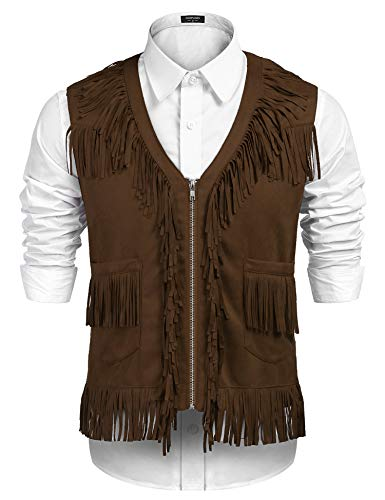 COOFANDY Mens Fringe Vest Hippie Costume Casual Western V Neck Zipper Suede Leather Waistcoat (XX-Large, Coffee)