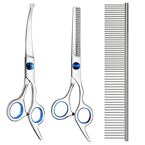Pets vv 3 Pack Dog Grooming Scissors with Safety Round Tip, Perfect Stainless Steel Up-Curved Grooming Scissors Thinning Cutting Shears with Pet Grooming Comb for Dogs and Cats