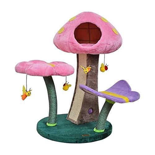 Bonito Árbol para Gatos de 79cm Torre de Juegos para Gatitos con Diseño de Seta Postes y Tabla para Rascar de Sisal Percha y Condominio de Felpa Acolchados Juguetes Abejas Colgantes