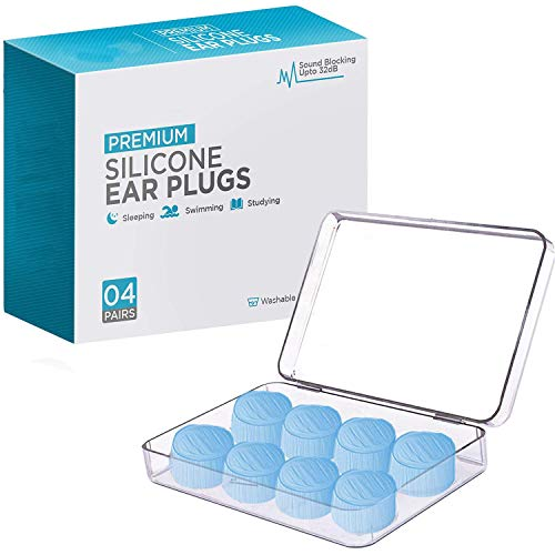 Ear Plugs for Sleeping, Reusable Silicone Moldable Noise Cancelling Sound Blocking Reduction Earplugs for Swimming, Snoring, Concerts, Shooting, Airplanes, Musicians, 32dB Highest NRR