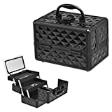 Cosmetic Case Makeup Box, 3-Tiers Lockable Cosmetic Beauty Box with Mirror, Large Storage Organiser Vanity Set For Girls Women, 9''X6''X7''