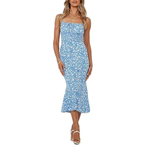 N\P Vestido delgado de longitud media con estampado de tirantes para mujer