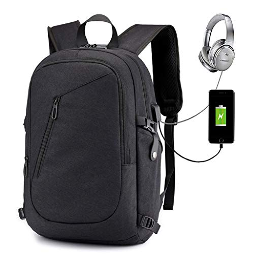 Laptop Backpack, Business Water Resistant Anti-Theft Laptops Backpack with USB Charging Port Headphone Jack Lock for 14/15.6 Inch Computer Business Backpacks Casual Hiking Daypack,Black
