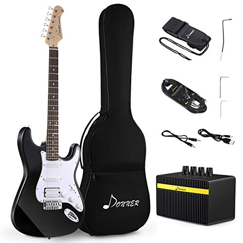 Donner DST-1B Solid Body Full-Size 39 Inch Electric Guitar Kit 3/4 electric guitar bundle Black, Beginner Starter, with Mini Amp,Bag, Strap, Cable