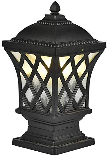 Suge Outdoor Open Air Bollard Post Light European AntiqueSquare Die-cast Waterproof IP56 Column Stigma Lamp Villa Garden Landscape Porch Pillar Lantern E27 (Color : Black)