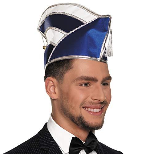 NET TOYS Komitee-Mütze Elferratsmitglied | Blau-Weiß | Extravagante Männer-Mütze Komitee Prunkmütze geeignet für Sitzungskarneval & Fastnacht