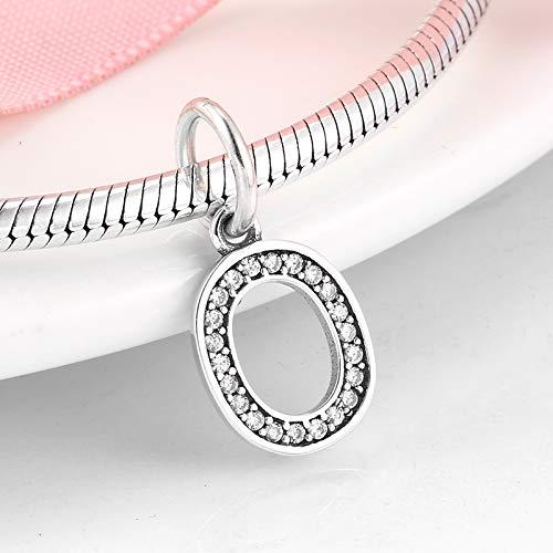 LFDHG 925 Sterling Silber Perlen Charme Null Arabische Ziffern Perlen Fit Frauen Armband Armreif DIY Schmuckherstellung