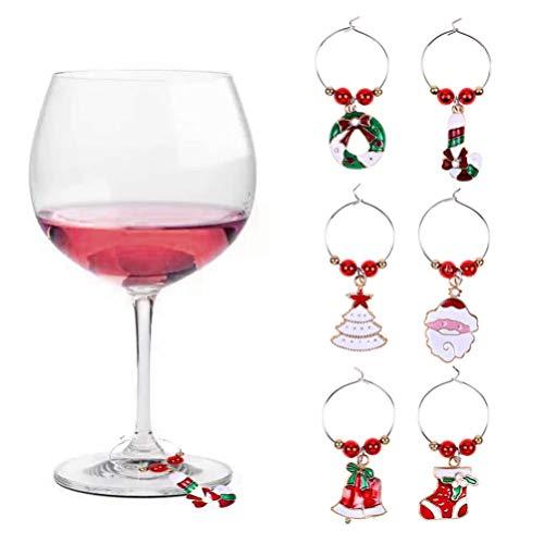 SUPVOX 18 piezas encantos de copa de vino marcadores de copa de vino de navidad etiquetas de copa de vino...