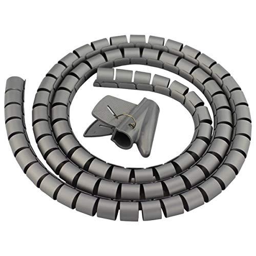 Ymwave Spirale Avvolgi Cavo Flessibile,Guaina Spiralata per Cavi 28mm x 2m con Inseritore,per TV Wire Computer Cable su casa o Ufficio -Grigio