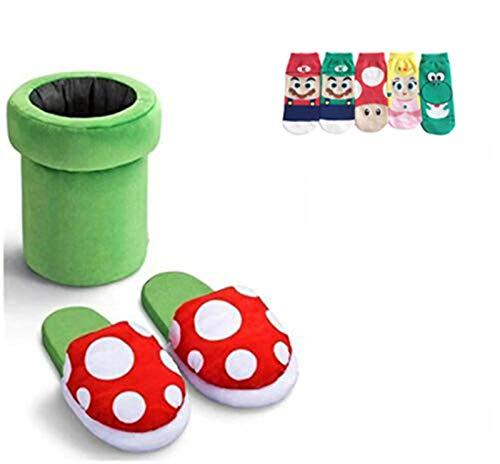 Lindas zapatillas de felpa con flores de caníbal, alrededor del juego de Super Mario, tan suaves como pisar una nube, añade luz a los pies, envía cinco pares de calcetines