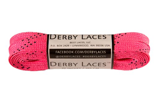 Derby Laces Hot Pink 72 Inch Waxed Skate Lace for Roller Derby, Hockey and Ice Skates, and Boots