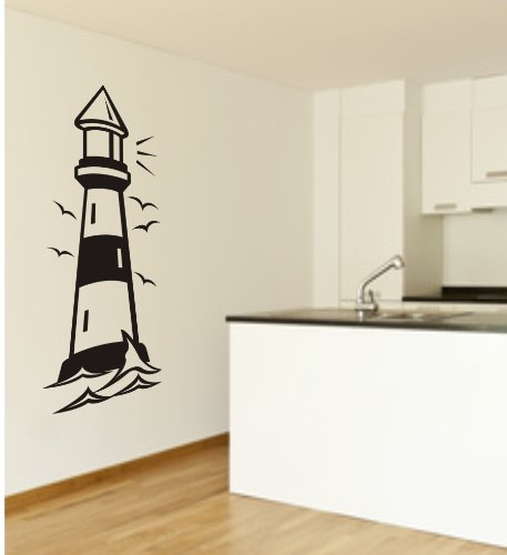 blattwerk-design Wandtattoo, Leuchtturm, Meer, Dekoration, XXL - Motiv, Größe ca. 1000 mm x 450 mm, Auswahl (M052 Azurblau)