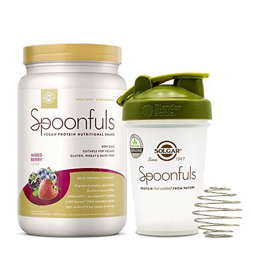 Solgar Spoonfuls Vegan Protein Powder with Blender Bottle - Mixed Berry Flavor, 14 Servings - Nutritional Shake w/Probiotics, Digestive Enzymes - Dairy Free, Gluten Free - 3 Scoops Per Serving