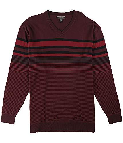 Alfani Mens Bold Pop Striped V Neck Pullover Sweater, Red, Big 2X