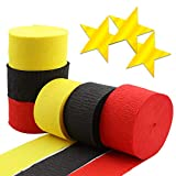 BllalaLab Red Yellow Black Crepe Paper Streamer Rolls Backdrop DIY Decoration Total 490 ft with 20 pcs Metallic Gold Star Cutouts, for Hanging Party Art Supplies, Mickey Theme Color