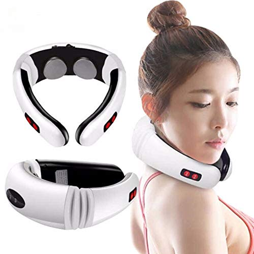 Chnaivy Nackenmassagegerät Elektrische Zervikale Behandlung Physiotherapie Selbstmassage Intelligentes Instrument Multifunktions 6 Modi der Massagetechnik 3D Intelligentes Design