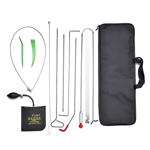 AMOSTBY Full Professional Car Kit, Auto Emergency Toolset 11PCS, Air Wedge Pump, Non-marring Wedges, Carrying Case Bag