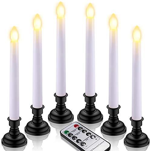 Yme - Velas de mesa LED, 6 unidades, funcionan con pilas, sin llama, con mando a distancia, temporizador y portavelas negro, incluye pilas, vela parpadeante para casa, boda, fiesta, decoración
