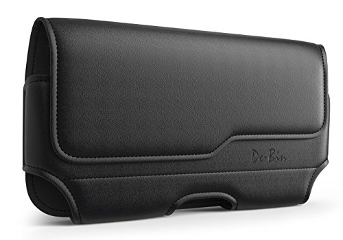 De-Bin Cell Phone Holster Designed for iPhone 12 mini iPhone 5 Belt Case with Belt Clips Belt Loops Carrying Phone Pouch Cover fits Apple iPhone 12 mini/ 5/ 5c/ 5s with Medium to Thick case on – Black