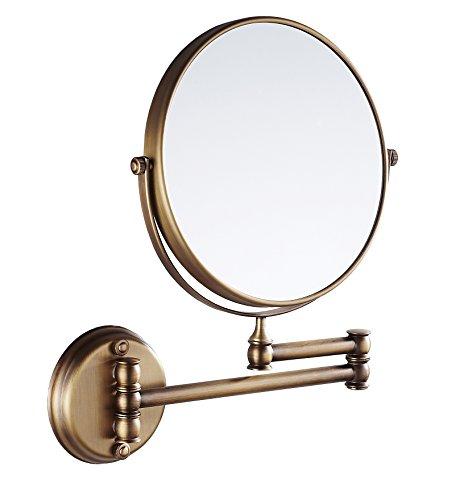 Eridanus Espejo de Maquillaje de Aumento de Pared, Espejo Cosmético 1X y 3X Ampliación de Doble Cara Giratoria de 360°para Baño Espejo Tocador Extensible, Bronce