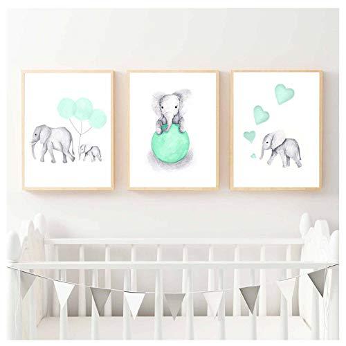 ONEAM olifant kinderkamer bedrukt schilderij op canvas dieren mintgroen ballon hart poster foto's wooncultuur voor kinderen baby kamer 40 x 50 cm x 3 zonder lijst