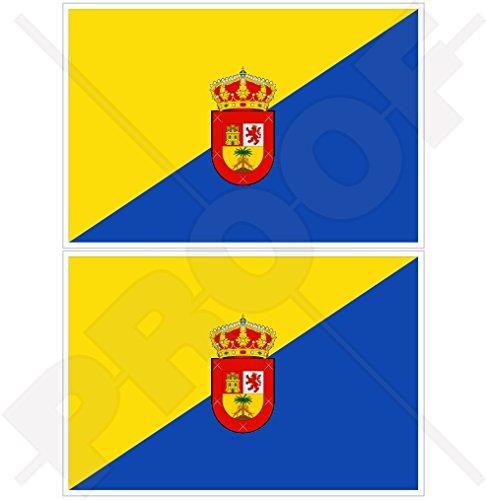 Gran Canarias flagga kanarieöarna Spanien, Islas Canarias, spanska 75 mm (3.3 tum) vinyl stötfångarklistermärken, dekaler x 2