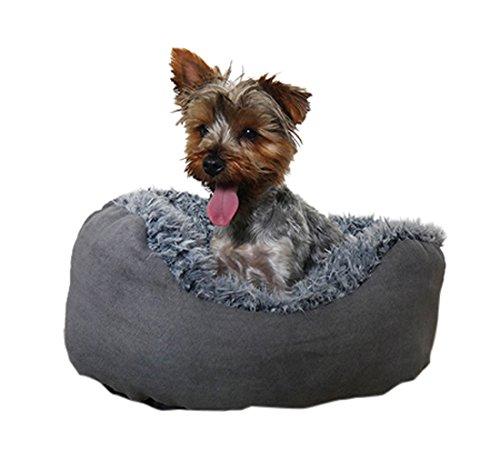 Rosewood 04407 Hundebett Small aus kuschelig weichem Pelz, mit Rutschfester Unterseite, Maschinenwäsche, 50cm, grau