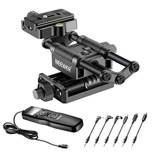 Neewer Pro 4-Way Macro Focusing Rail Slider with 6-in-1 Timer Shutter Release Compatible with Canon Nikon Pentax Olympus Sony and Other DSLR Cameras and Camcordes Great for Close-Up Shooting
