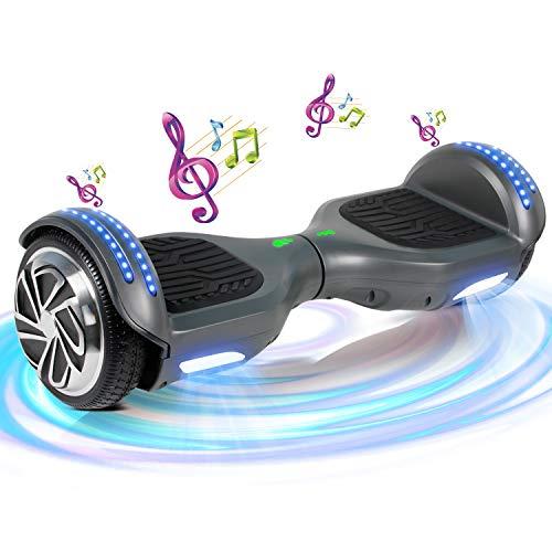 SISGAD Hoverboard, Électrique Gyropode 6,5 Pouces LED Hoverboard Self Balance Scooter, 2 * 300W Smart Blance Board, Électrique Auto-Équilibrage pour Enfant et Adulte